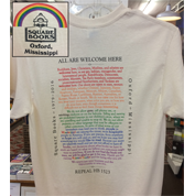 Image of white tshirt with All Are Welcome Here Text
