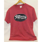 Image of red tshirt with Fortune's Famous Ice Cream Sign