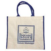 Image of Jute Tote Bag with Blue Handle and Blue Square Books Logo