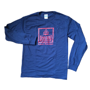 Image of Long Sleeve Blue Shirt with Red Square Books Logo