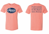 Image of prism sunset t shirt with oval square books logo & slogan