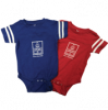 Image of two baby onesies in red and blue with white Square Books logo