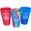 Image of three silipint cups with white square books logo